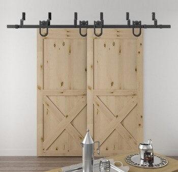 DIYHD 5 5ft 10ft Horseshoe Bypass sliding barn wood closet door rustic black barn door track