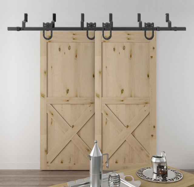 DIYHD 5.5ft 10ft Horseshoe Bypass Sliding Barn Wood Closet Door Rustic  Black Barn Door