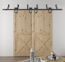 DIYHD 5.5ft-10ft Horseshoe Bypass sliding barn wood closet door rustic black barn door track hardware
