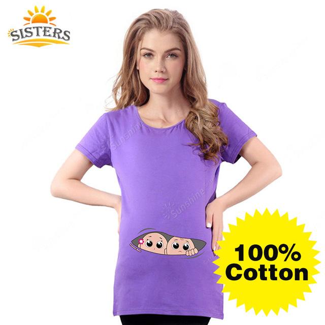 2016 Gemelos de La Camiseta para las mujeres embarazadas de Maternidad Bebé Divertido que Asoma Camisetas Mujeres Camisetas Camisetas 100% Algodón Ropa embarazo
