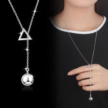 Todorova New Arrival Female Geometric Triangle Ball Pendant Necklace Tassel Long Sweater Chain Necklaces for Women Wholesale цена 2017