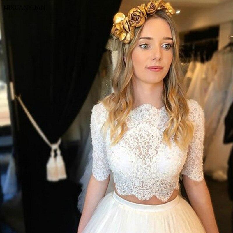 Half Sleeves Vestido De Noiva 2019 Wedding Dresses Ball Gown Tulle Lace Beaded Boho Dubai Arabic Wedding Gown Bridal