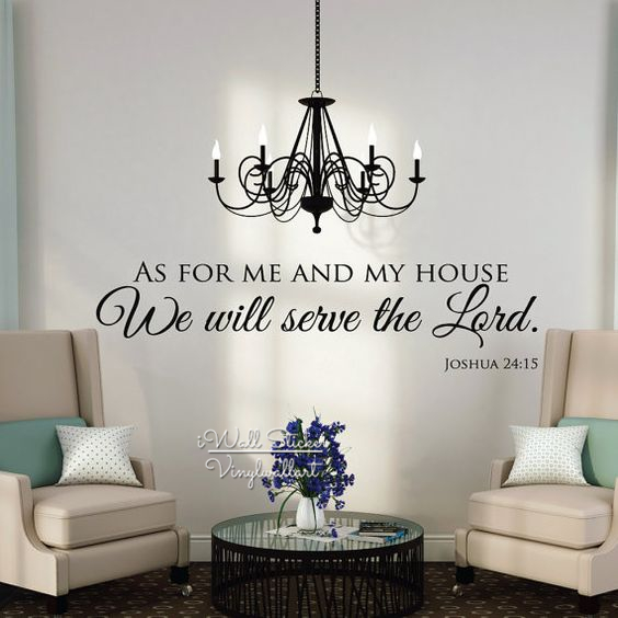 As For Me And My House Wall Decals Quotes Christian Wall Art Stickers Vinyl Lettering Family Wall Decor Removable Cut Vinyl Q216