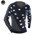 Male 2017 Men'S Fashion Star Printing Sweater Men Leisure Slim Pull Homme O-Neck Sweater Solid Sweater Sweater Men XXL M