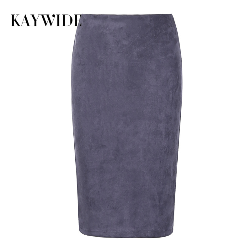 KAYWIDE 2017 Women Suede Midi Skirt Female Spring Summer Multi Color Basic Tube Bodycon Pencil Skirts Saia Femininas S161207