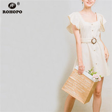ROHOPO Beige Butterfly Linen Cotton Dress Buttons Fly Sashes Belt Chic Girl Flared Solid Breathable Mini Preppy #UZ9119