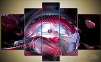 Large hand painted Canvas Wall Art Realistic science fiction oil painting on canvas 5 pieces Modern Home Decor
