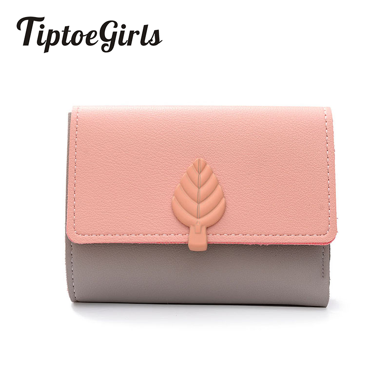 Womens Short Wallet Three Fold Multi-Function Leaf Decoration Small Wallet New Minimalist Japanese and Korean Wild Wallet