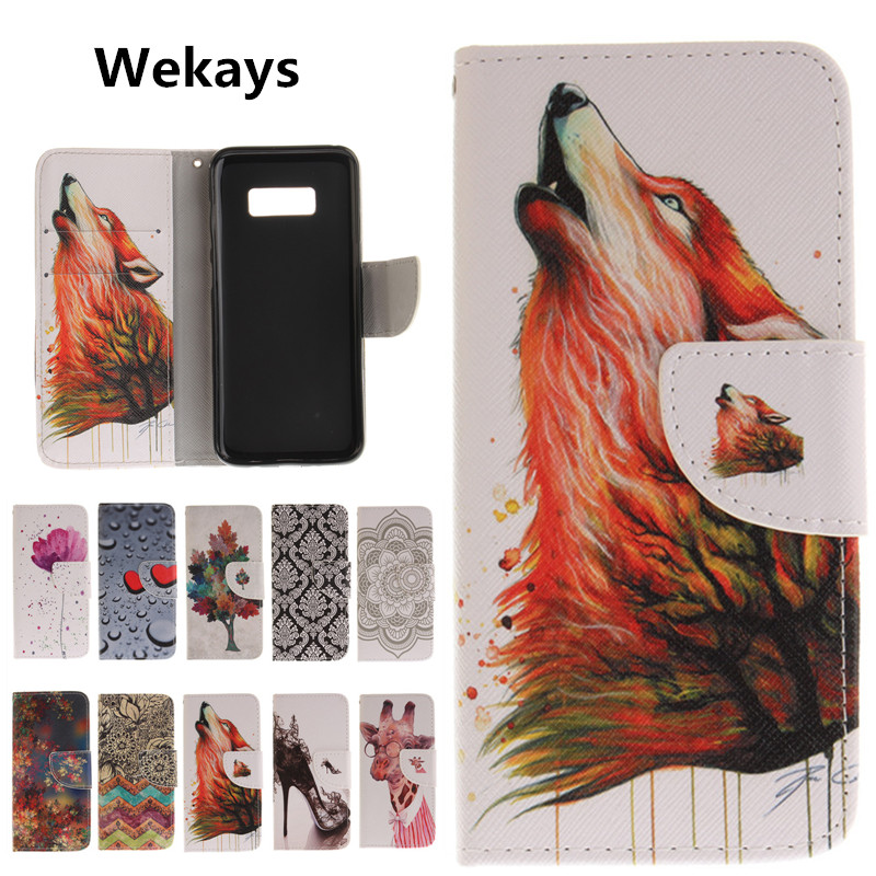 Cartoon Wolf Flower Deer Wallet Flip Leather Cover Soft Case For Samsung Galaxy S8 S8 Plus A3 A5 J3 J5 2017 J5 Prime Cover Coque