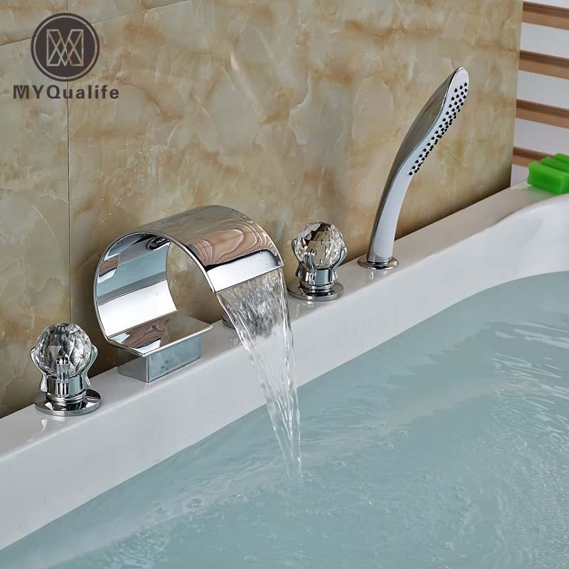 Polished Chrome 5pcs Deck Mount Cristal Handles Widespread Bathroom Bathtub Mixer Taps Tub Faucet with Handshower