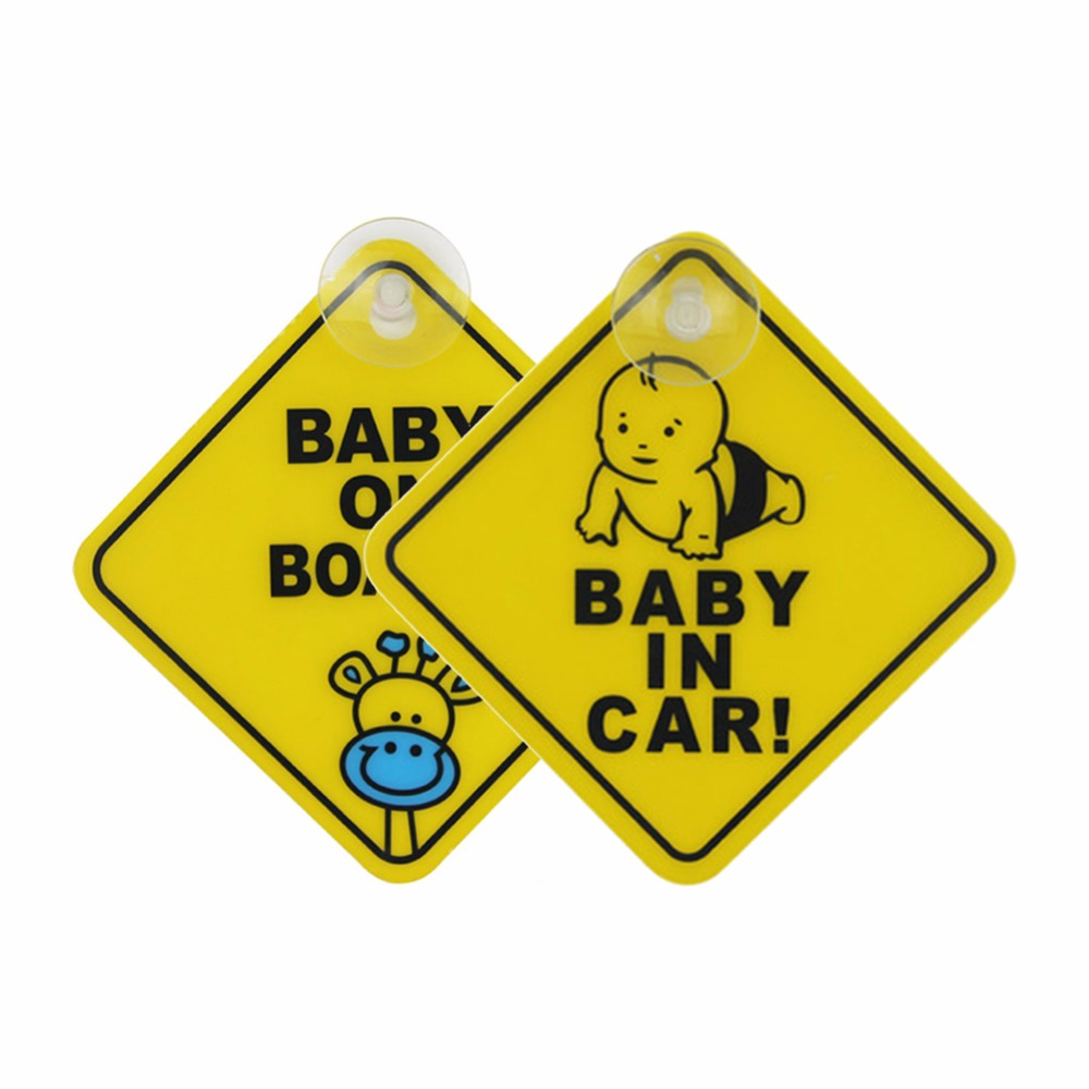 2pcs BABY IN CAR / BABY ON BOARD PVC Sucked Type Warning Mark Sign Sticker Car Window Warning Safety Notice Board Sticker clear acrylic a3a4a5a6 sign display paper card label advertising holders horizontal t stands by magnet sucked on desktop 2pcs