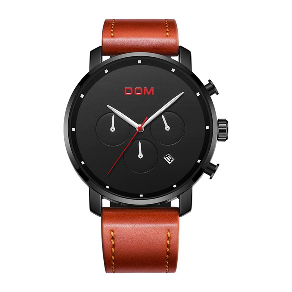 DOM New Three Eyes Quartz Male Watches Leather Simple Fashion Business Mens Watches Top Brand Luxury Sport <font><b>Montre</b></font> <font><b>Homme</b></font> <font><b>2019</b></font> image