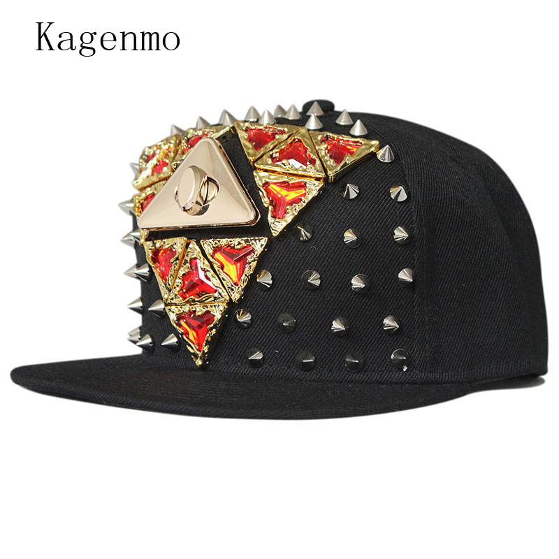Kagenmo Riveted Gemstones Flat Brim Hip Hop Baseball Cap Cool Men Street Hat Short Visor Dance Show Cap Nightclub Caps 5pcs/lots