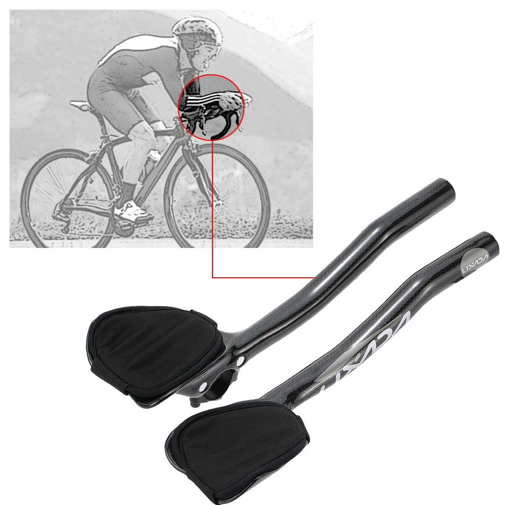 Carbon fiber 3K TT Triathlon Road Bike Racing Aero Bar rest Handlebar Aerobar