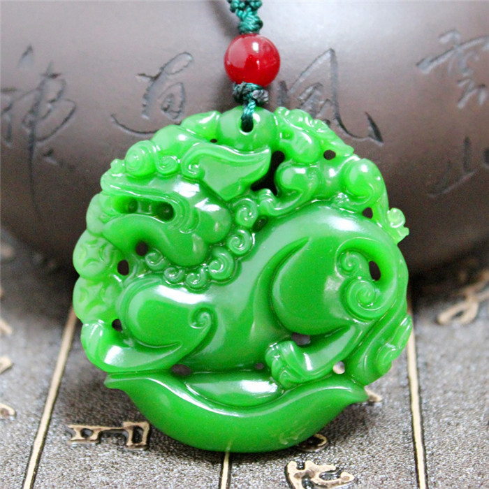 "Chinese green jade hand carving /""China Dragon/"" Good luck necklace pendant"