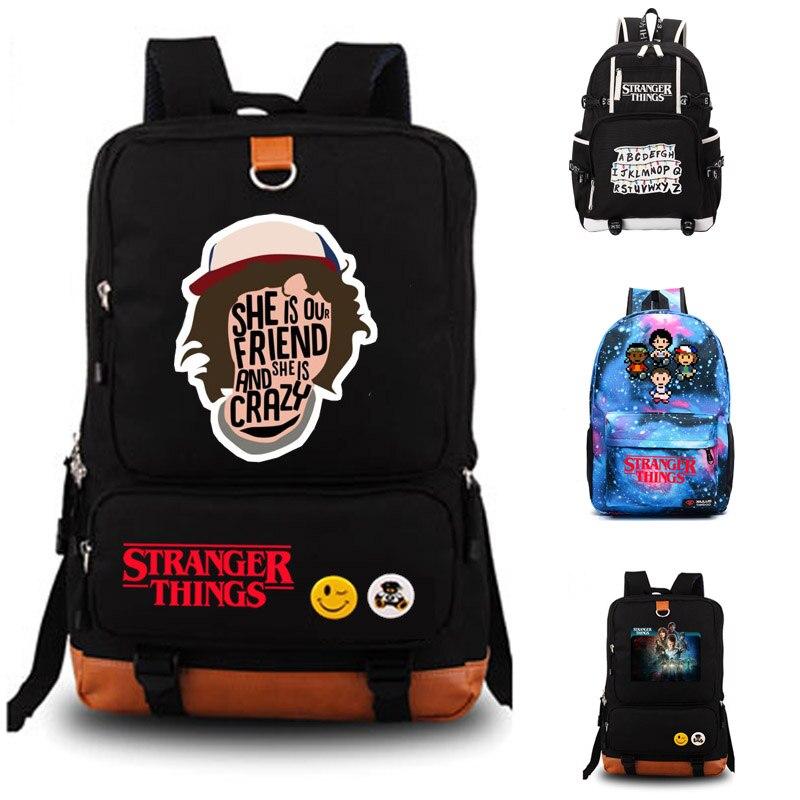 Stranger things School bag hombres mujeres bolso de escuela del estudiante mochila portátil mochila diaria