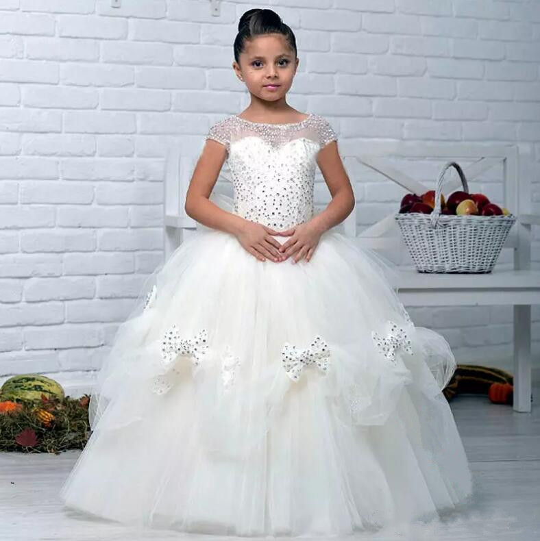 New Ball Gown Flower Girl Dress Lace Appliques 2017 First Communion Dress Custom Made Size 2-16 4pcs new for ball uff bes m18mg noc80b s04g