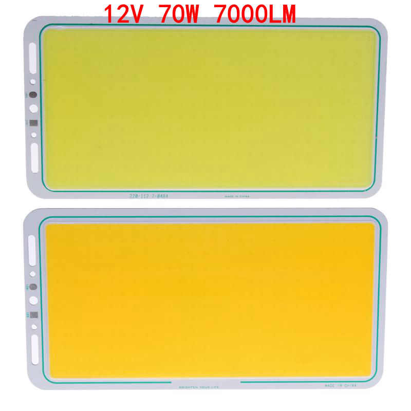 12V 70W 7000LM LED Panel Light LED Strip Light LED COB Light Lamp White/Warm White Soft High Brightness Working Light 220X120mm
