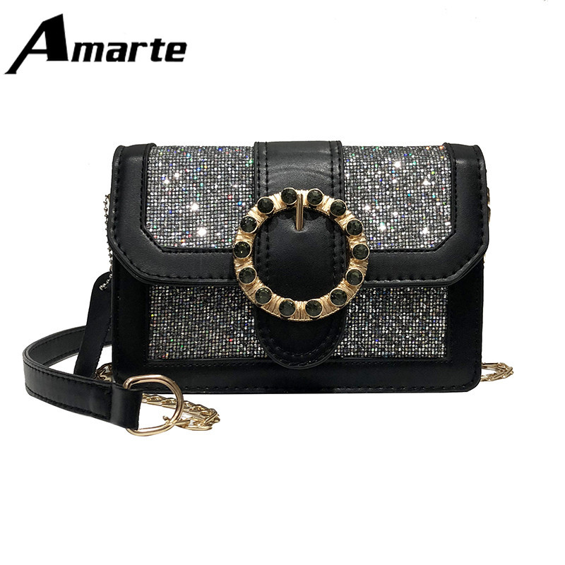 2019 Amarte Spring New Brilliant Diamond Women Bag High Quality PU Leather Lady Shoulder Luxury Designer Chain Bags