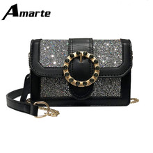 2019 Amarte Spring New Brilliant Diamond Women Bag High Quality PU Leather Lady Shoulder Luxury Designer Chain Bags