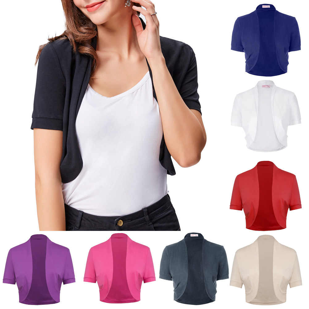 Fashion Women Short Sleeve Solid Sides Cotton Shrug Bolero Cardigan Crop Tops