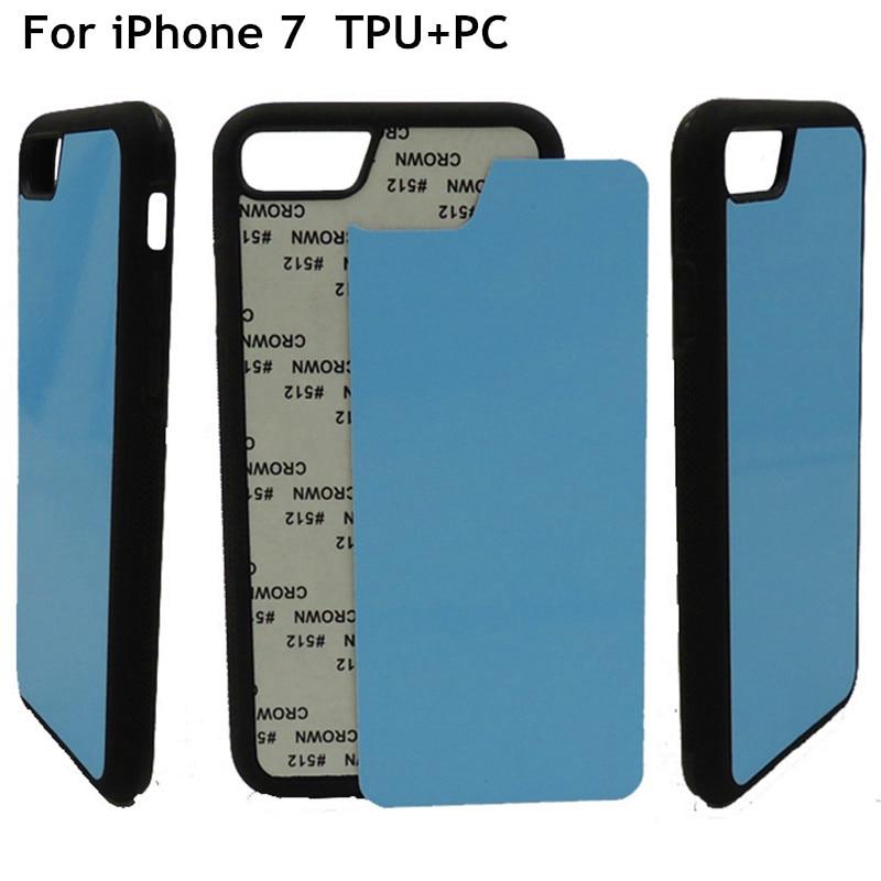 HZP-10pcs/lote 2D en blanco sublimación funda de TPU para iPhone 7 8 cubierta inserciones de aluminio y pegamento