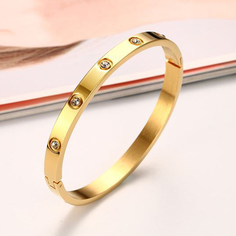 Stainless Steel Fashion Gold Plating Bracelets&Bangles for Women Rose Gold Color Charming CZ Cuff Bracelet Loves Jewellery Gift