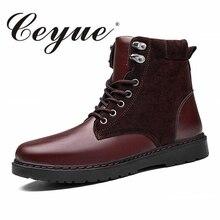 Ceyue ручной работы осень Мужские ботинки Новинка 2017 года Martin из микрофибры Ботильоны мужские черные резиновые мотоциклетные ковбойские сапоги пикантная обувь для Для мужчин