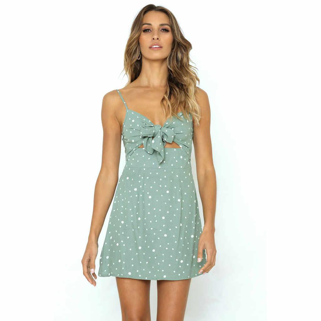 Women Summer Dress Camis Dot Off shoulder Sleeveless Bow Bandage Backless Green Mini Dress Women dresses woman party night NEW