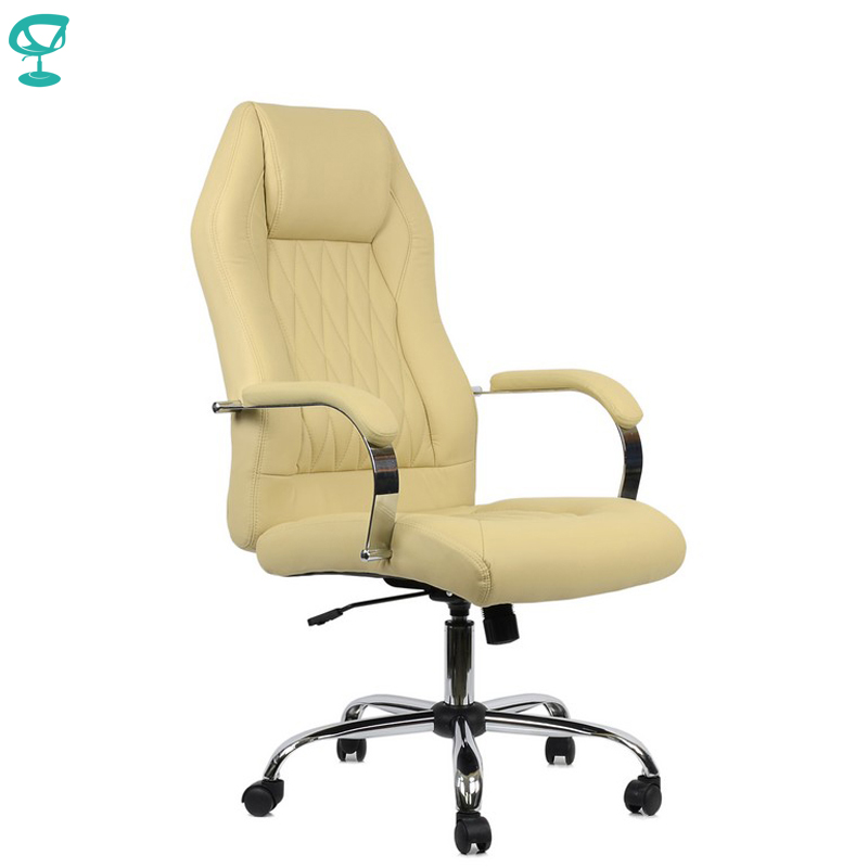 95158 Beige Office Chair Barneo K-69 Eco-leather High Back Chrome Armrests With Leather Straps Free Shipping In Russia