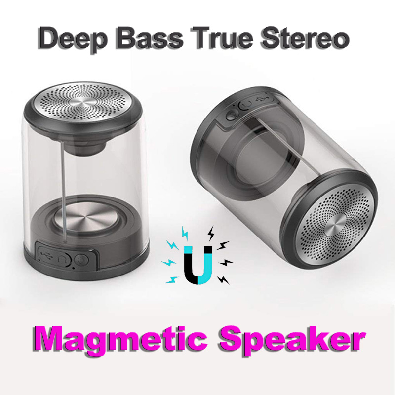 Portable Wireless Bluetooth Speakers with Magnetic Connectable Base, Outdoor Cycling Speaker, Build in Mic for Hands Free