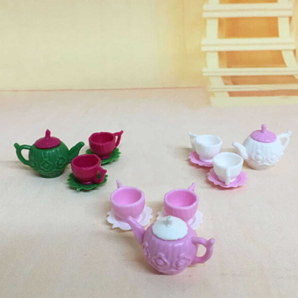 3pcs/set Tea Pot Cups Plates Set Dollhouse Decor Kitchen Classic Toy Pretend Play Best Gift Girl For  Doll Accessiores