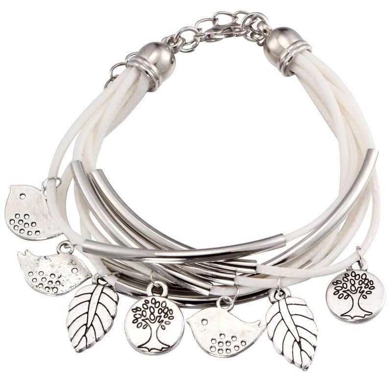 2018 de moda encanto de plata hojas de Tibetant de plata multicapa pulseras  para las mujeres af4018decbef