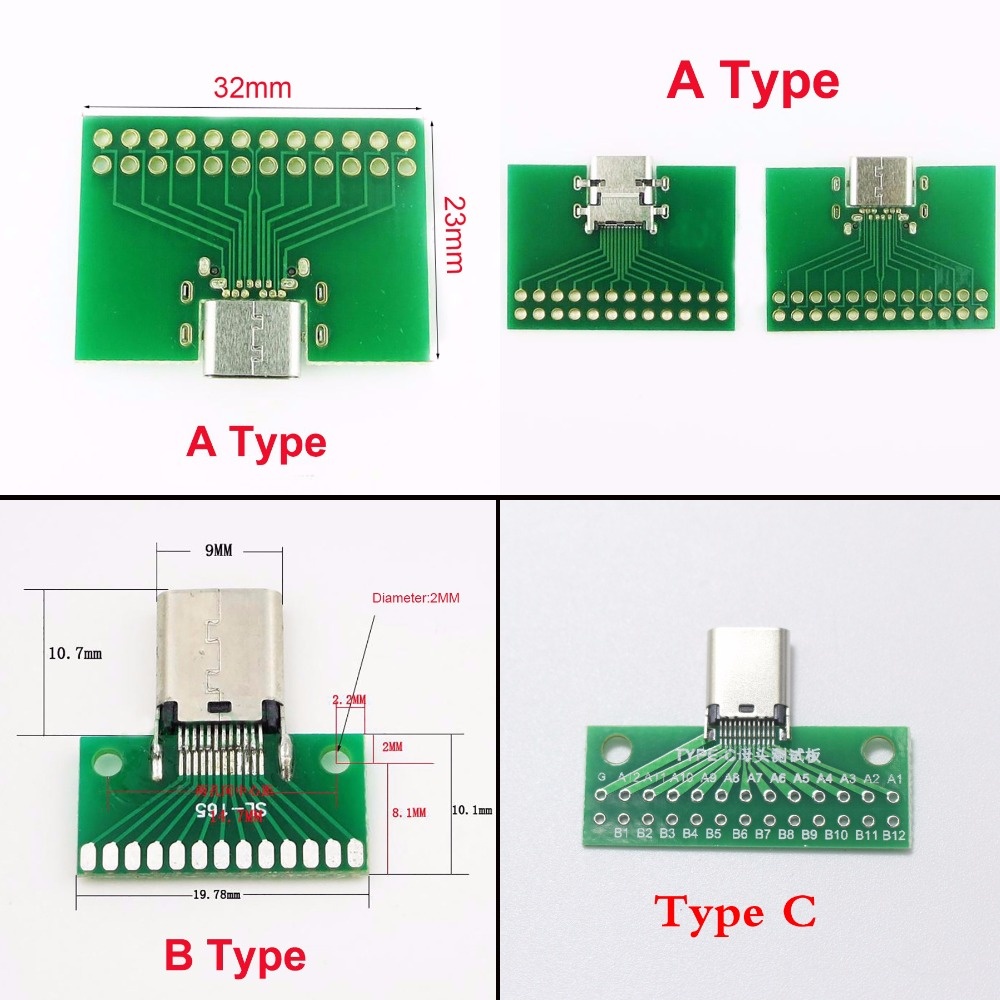 5PCS USB 3.1 Type C 24Pin Male Plug Socket Connector Adapter SMT PCB Board