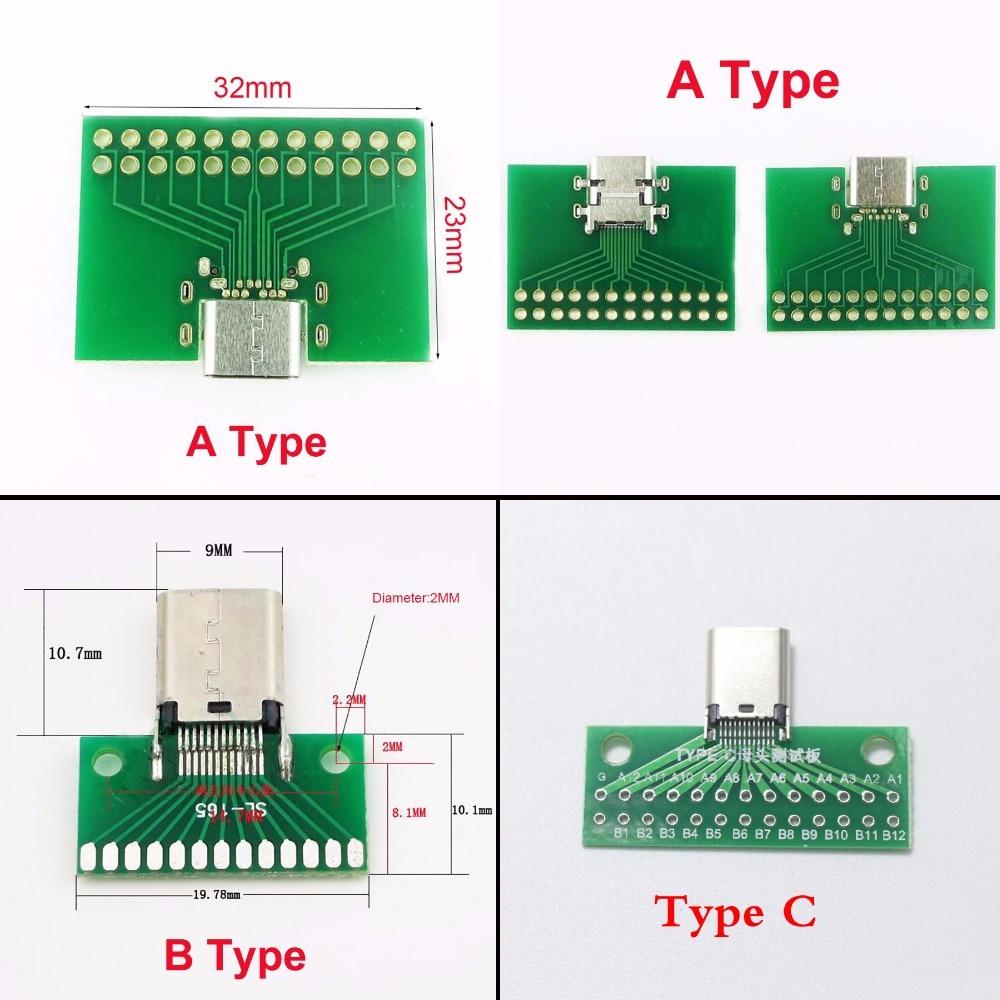 5PCS USB 3.1 Type C 24Pin Male Plug Socket Connector Adapter SMT PCB Board