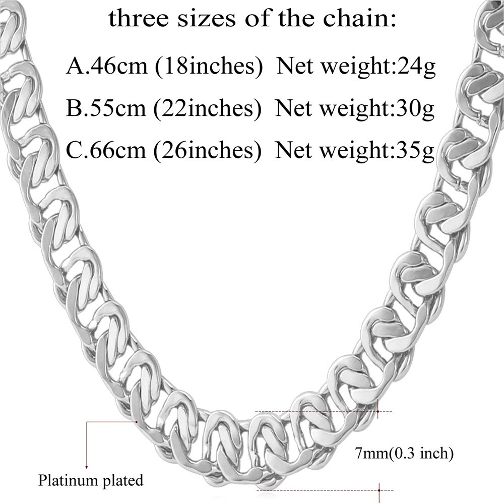 HTB1Uhu7KVXXXXXyaXXXq6xXFXXXR - U7 Unique Necklace Trendy Gold/Silver Color Chain Necklaces Men Jewelry N377