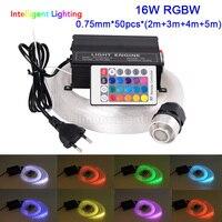 16 Watt RGBW licht motor 0 75mm * 50 stücke * (2 mt + 3 mt + 4 mt + 5 mt) LED faseroptik licht Sterne Decke Kit beleuchtung + RF 24key Fern + Kristall-in Glasfaserleuchten aus Licht & Beleuchtung bei