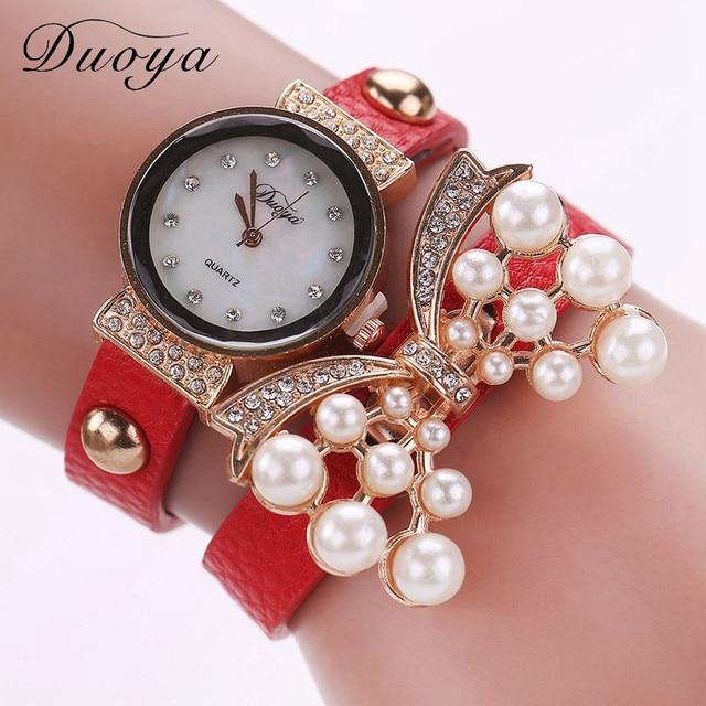 Duoya Hot Sale luxury watch women bracelet watch fashion crystal pearl heart pen