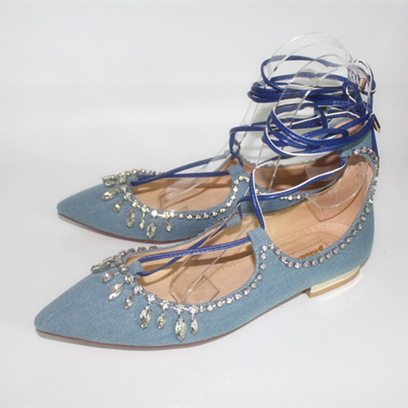 ФОТО Spring newest denim blue lace-up flat shoes pointed toe bling bling crystal woman dress shoes back zip flat shoes