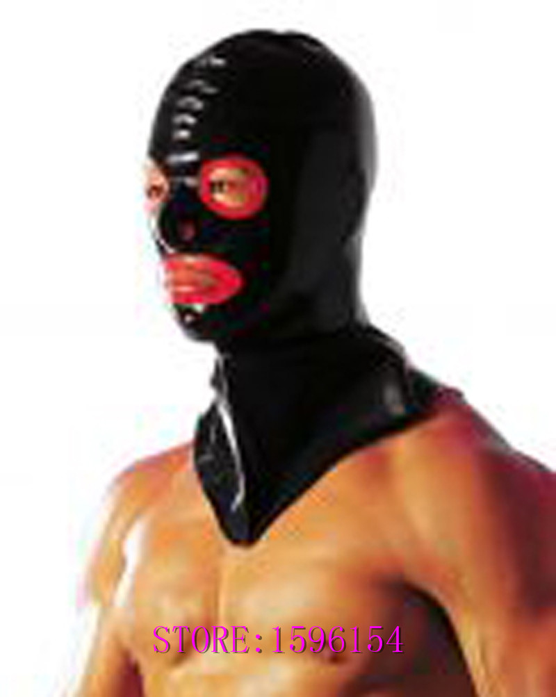 Buy New Fashion Black Latex Long Hood Fetish Rubber Mask Open Eyes Mouth Plus Size Hot Sale