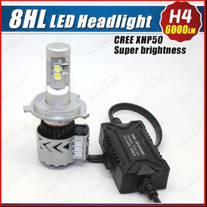 TOYIKIE 1set H4 High Low Dual Beam 72W 12000LM 6500K with XHP50 LED Car Headlight Conversion