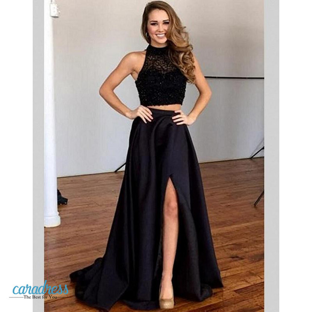 2aee1469a1ca Black Hot Sexy Long Two 2 Piece Prom Dresses Beaded Satin Side Slit Prom  Dress Girl Evening Dress for Graduation kleider