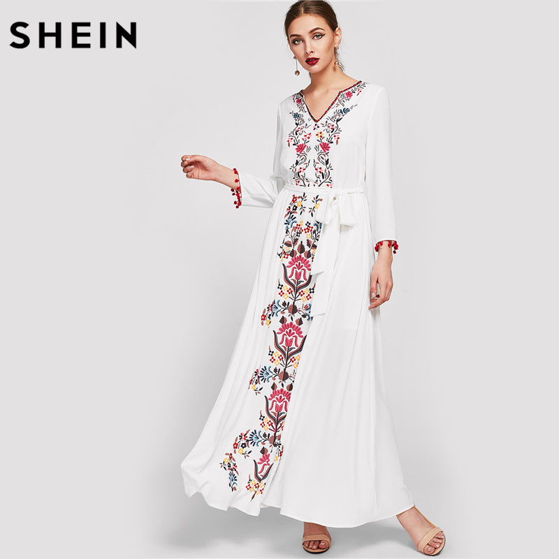 SHEIN Embroidered Tape Trim Symmetric Flower Print Casual Dress Autumn White V Neck Long Sleeve Belted Maxi Dress