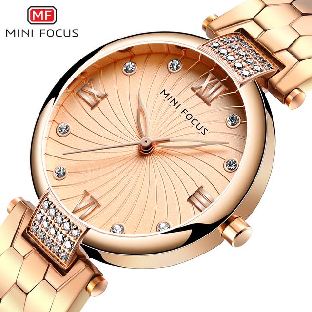 Minifocus Women Luxury Brand Watch 2019 Rhinestone Golden Lady Wrist Watch Waterproof Gold Watches For Women Relogio Feminino