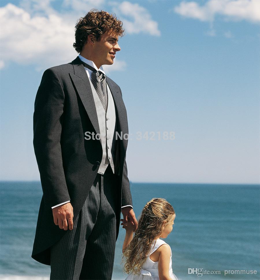 FREE EMS!Custom Made Black Men's Long Coat Dress One Button Best Man Gun Collar Groomsmen Tuxedos/Men Wedding Suit/man Suits