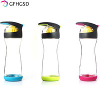 GFHGSD 2017 Wholesale Bpa Free Heat Resistant Sports Glass Water Bottle With Silicone Sleeve Tea Infuser