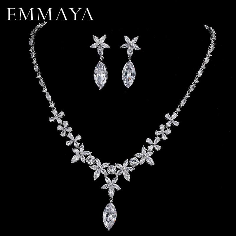EMMAYA Women Cz Crystal Flowers Jewelry Set Fashion Rhinestone Pendant Necklace Drop Earrings Wedding Jewelry Set rhinestone necklace with earrings set page 7