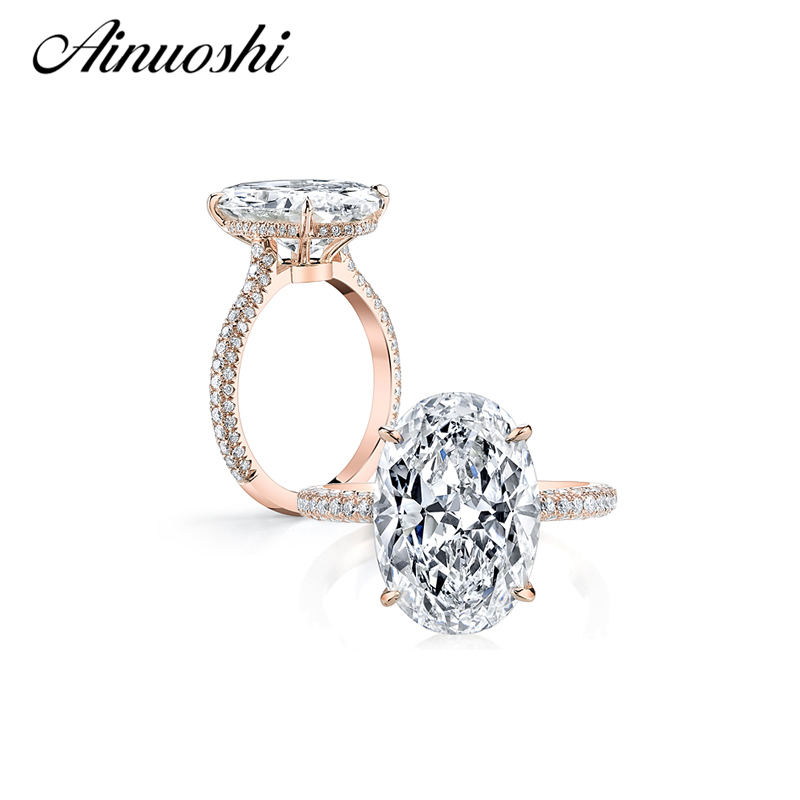 AINUOSHI Luxury 925 Sterling Silver Ring Rose Gold Color 5 Carat Big Oval Cut SONA Ring