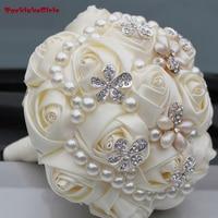 Nowy Przyjazd Pearl Bukiet w Silk Ribbon Rose Sztuczne Kwiaty na Ślub Broszka Bukiety Druhny Suknie Ślubne Dla Nowożeńców