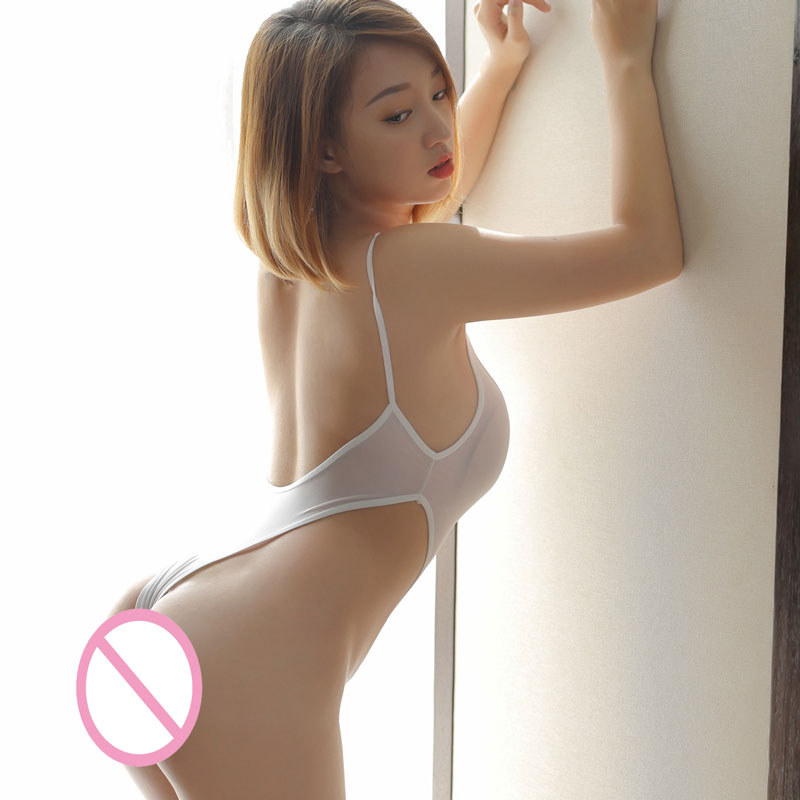 Sexy Women Smooth Thin Milk Ice Silk See Through High Cut Bodysuit Thong Backless Transparent Erotic Lingerie Thong Leotard F8
